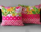 Pair of Pillow Covers - Pink Lime Lattice Floral Polka Dot, Ready to Ship