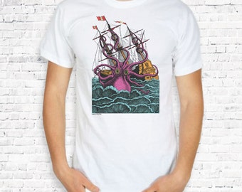Giant octopus attacking the sailing ship T-shirt-octopus women shirt-octopus tank top-octopus tank top-kraken men tees-NATURA PICTA NPTS044