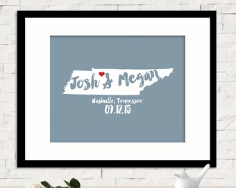 Personalized Wedding Gift for Couples Gift for Her Him Custom Name Print Newlywed Engagement Anniversary Gift, Tennessee Any STATE COUNTRY
