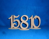 """6""""  Script Table Numbers set 1-5 with 1/4""""  on Oval Base MDF / WOOD"""
