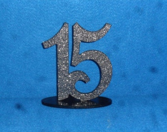"""6"""" Table Numbers set 1-10 oval base Glittered Numbers Painted Bases"""