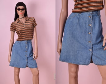 90s Button Down Denim Skirt