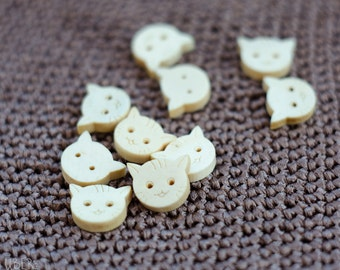 Wooden Cat Buttons - 10mm - 2 holes - cute cat head buttons - Yarn Craft Supply