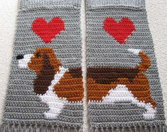 Basset Hound Scarf. Grey, knit and crochet scarf with tri-color Basset dogs. Crochet dog scarf
