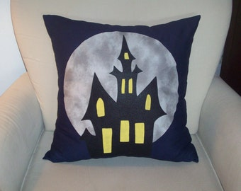 Halloween Pillow Cover, Haunted House, Haunted Mansion, 16x16, 18x18, 20x20, 22x22, 24x24, or 26x26 Halloween Decor