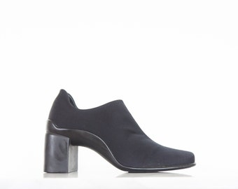90s Minimal Black Lycra Square Toe Booties / Ankle Boots / Size 9 US - 39/40 Eur - 7 Uk