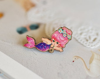 Pink little mermaid, Wooden Brooch, Pin, Handmade, vintage image