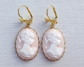 Cameo Earrings/Blush Pink Earrings/Blush Pink Cameo Earrings/Vintage Inspired Earrings/Gifts For Her/Bow Earrings/Victorian Earrings/Cameos