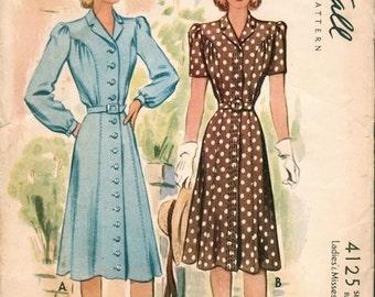 Beautiful Vintage 1940s McCall 4125 Seam and Gather Detail Shirt-Dress Sewing Pattern B34