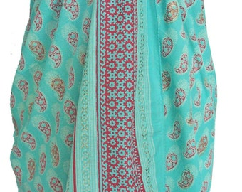 Hand Block Printed Sarong - Turquoise Paisalini