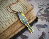 nature inspired yellow bird statement pendant, modern enameled copper pendant, long-tailed minivet, boho style pendant, rustic, gift for her