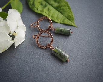 jungle safari look earrings, elegant minimalist copper earrings, olive green, rustic style, gift for her, summer jewelry