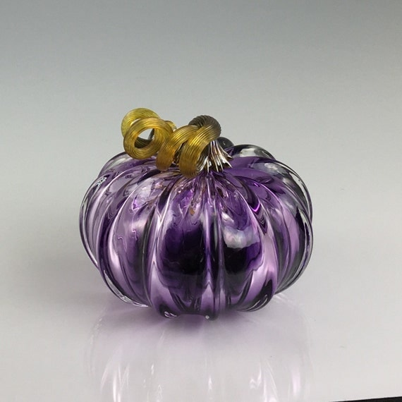 "3.5"" Glass Pumpkin by Jonathan Winfisky - Transparent Violet - Hand Blown Glass"
