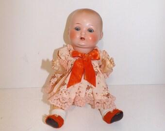 Vintage 1920s German dream baby doll paper mache fully clothed dressed sleeping eyes