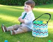 Personalized Easter Basket, Boys Easter bucket, boys chevron Easter basket