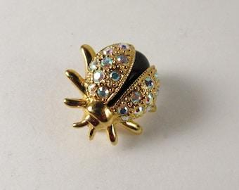 Butler Black Crystal Beetle Brooch / Vintage Butler crystal brooch / aurora borealis rhinestone beetle brooch