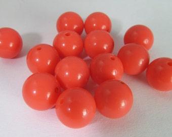 30 Vintage 10mm Coral-Orange Lucite Beads Bd1826