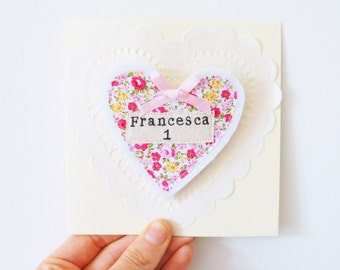 Handmade birthday badge name card/ personalised name birthday card