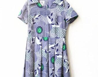 vintage 60s mod floral geo retro blue green collared pleat dress