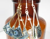 Vintage Abalone Shell Alpacca Silver Mexico Hook Wire Earrings Lot 2 Pair Dangle