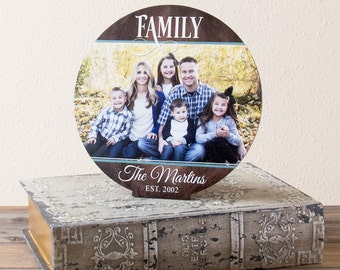 "Family Established Sign, Personalized Wood Family Name Sign With Photograph, Wood Last Name Sign, 10"" Tabletop Display"