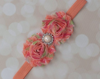 Peach and Pink shabby flower headband with an ivory pearl and rhinestone center. Perfect for newborn to adult!