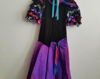 90s Vintage Velvet Tutu Ribbons Girls Dress Size 14 USA Made by Jazz Kids with clip