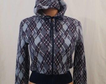 SEARS JR BAZAAR vintage hoodie sweater - front zipper - blue argyle plaid sz M
