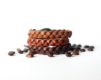 Braided Leather Bracelet Trio / Coffee Lover