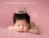 Pink Mini Crown Photo Prop READY TO SHIP Baby Pink Tiara Baby Headband Newborn Headband Princess Crown Full Rhinestone Crown Headband