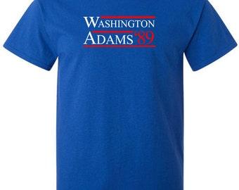 Campaign T-Shirt George Washington John Adams First Presidential Election President of 1789 Vintage American Shirt