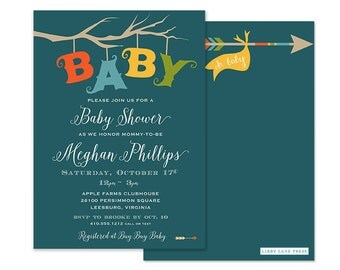 Woodland Baby Shower or Birthday Invitation (Unisex Baby Shower Invite, Woodland, Modern Baby Shower, Rustic Shower Invitation, Fall Party)