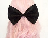 Super cute and sparkly black glitter hair bow Kawaii pin up