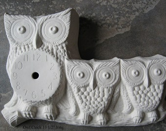 """Cute, Owl with chicks, Owl Clock, Bird Clock,Bird Decor, Home decoration, 10"""" by 14"""" long, Wall clock, Ceramic Bisque,Ready to paint,u-paint"""