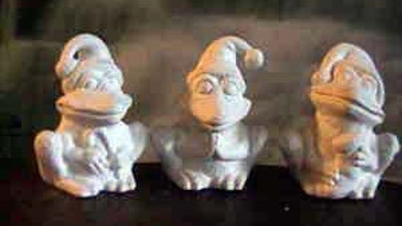 """Adorable 4"""", 3 Santa Frogs, Santas Helpers, Elf Frogs, Christmas Frogs, Christmas decoration, Ready to paint, Ceramic bisque,u-paint"""