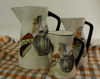 Mid Century Modern Pitchers / Capri by Royal Sealy / Set of 3 Pitchers with Wine and Cheese Design / 1950s Kitchen / Retro / Rustic Country