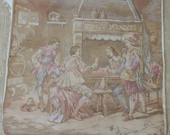 Vintage Woven Tapestry of European Colonial Scene Faded Sepia Tan Gray Rose Mixed Media Supply Grunge
