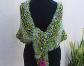 Shades of Lime Knit Wrap--Lime Confetti Knit Shawl
