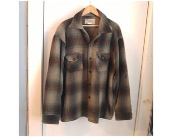Vintage Chippewa Woolens Wool Shirt green gray plaid 100% woolen mills lumberjack flannel hunter hunting shirt traverse bay woolen company
