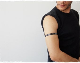 Yin Yang Armaband, Elven LARP Leather Armlet, Upper Arm Bracelet, Leather Arm Cuff, Nordic Arm Band, Elf Tribal Armlet, Yin & Yang Armband