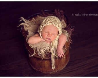tan newborn crochet bonnet - newborn photography prop - baby accessories - photo prop - baby shower gift