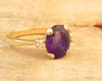 Vintage Amethyst and Diamond 14K Yellow Gold Solitaire Ring, 3.00 Carats