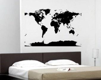 Big Global Atlas World Map Vinyl Wall Art Decal Sticker