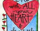 Bible Verse Proverbs 3:5 Trust the Lord with All your Heart Illustrated Watercolor print