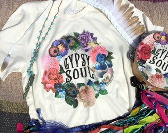 Gypsy Shirt, Gypsy Soul, MEDIUM, Boho Chic, Boho Clothing, Boho Gypsy, Bohemian Clothing