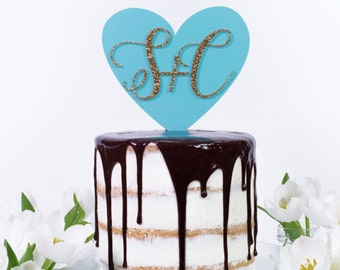 Luxury Script Initials and Heart Wedding Engagement Party Cake Topper