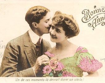 Cute Romantic Edwardian Couple Antique French Tinted Photo Postcard, Romance, Photographed by Stebbins from Vintage Paper Attic