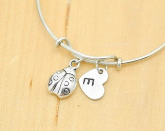 Ladybug Bangle, Sterling Silver Bangle, Ladybug Bracelet, Expandable, Personalized Bracelet, Charm Bangle, Initial Bracelet, Bridesmaid gift