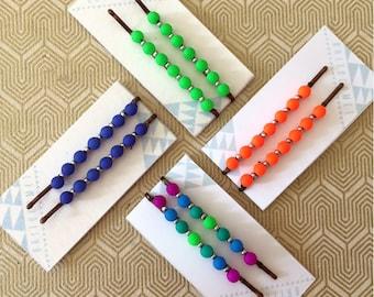 Cool Neon Beaded Hair Pins