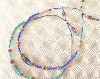 Blue and Green Beaded Friendship Bracelets